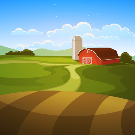 The farm background, cartoon illustration