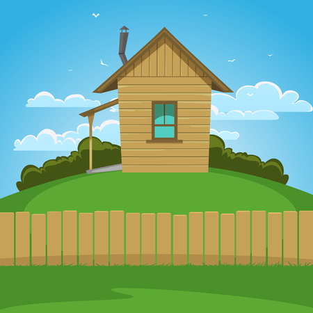 Wooden house on the hill, cartoon illustration  Vector
