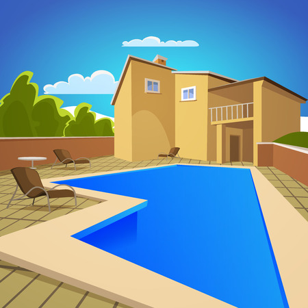 Illustration of the house with blue swimming pool  Stock Illustratie