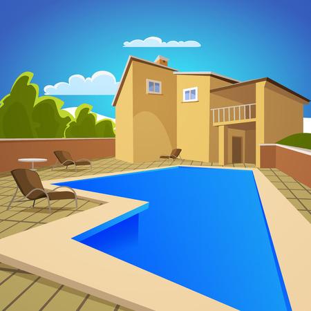 Illustratie van het huis met blauwe zwembad Stockfoto - 29297992