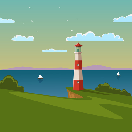 Summer landscape with lighthouse and boats on the sea  Vector