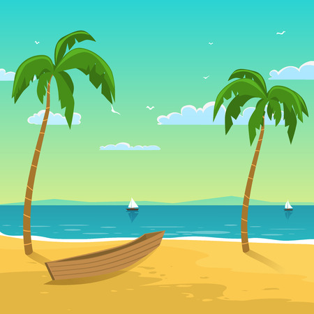 Seascape with boat on the beach with palms, season background  Vector
