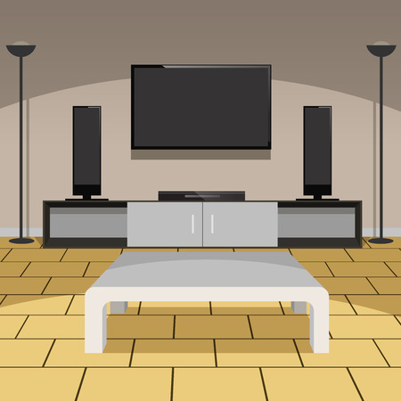 floor lamp: Living room with with furniture and home appliances