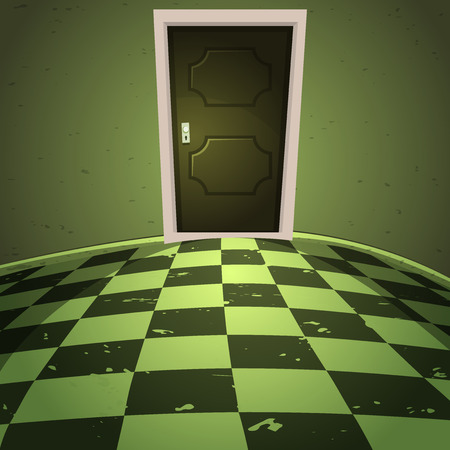 The room with the door, horror cartoon vector illustration  Stock Illustratie