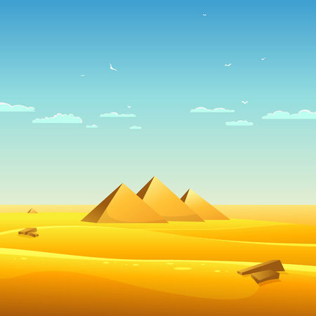 cartoon egyptian: Cartoon illustration of Egyptian pyramids