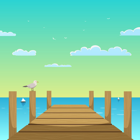 Cartoon illustration of the wooden pier with seagull