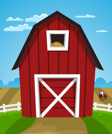 Cartoon illustration of red farm barn with tractor  Ilustração