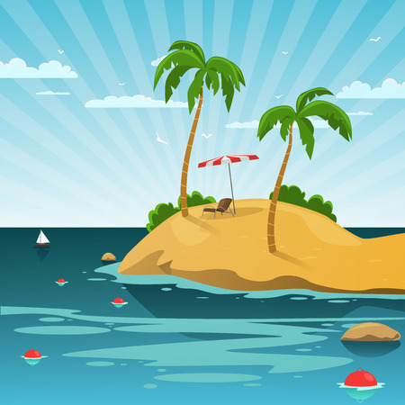 Tropisch eiland met zon stoel en parasol, zomer cartoon achtergrond Stock Illustratie
