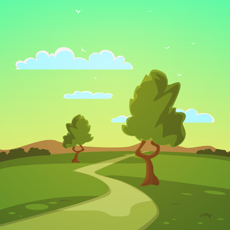 summer cartoon: Summer Cartoon Landscape Illustration