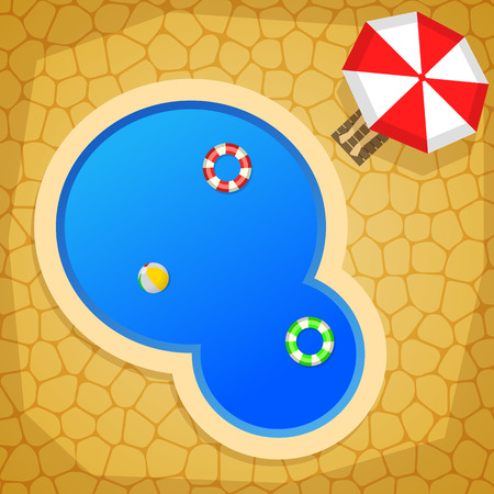 swimming pool home: Summer cartoon background with swimming pool