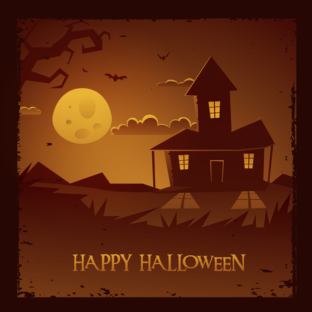 moonlit:  Halloween spooky house background, vector illustration
