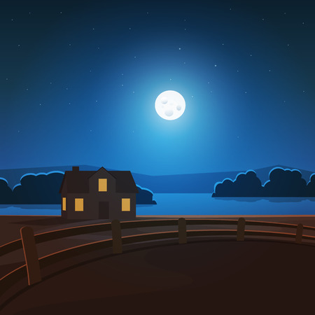 night time: Night landscape, farm with a house, cartoon illustration