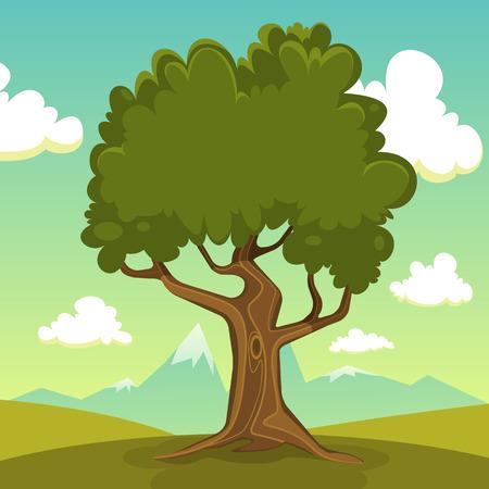 cartoon trees: Summer landscape with tree