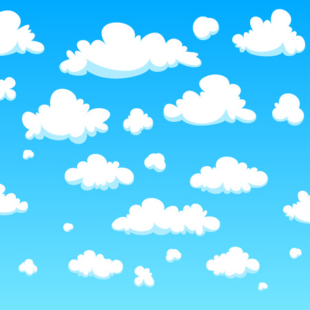White cartoon clouds background