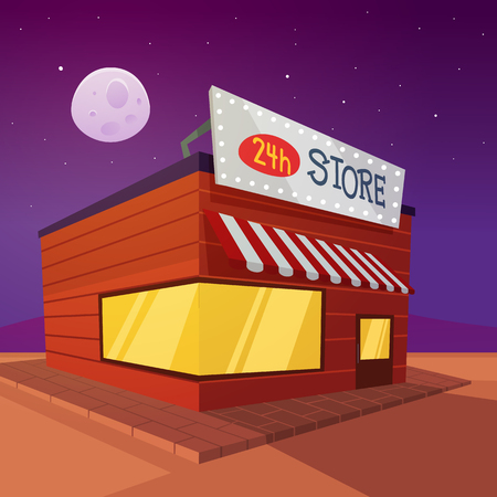 Store on the road in desert at night Vector