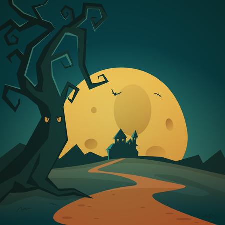 horror castle: Cartoon Halloween background Illustration