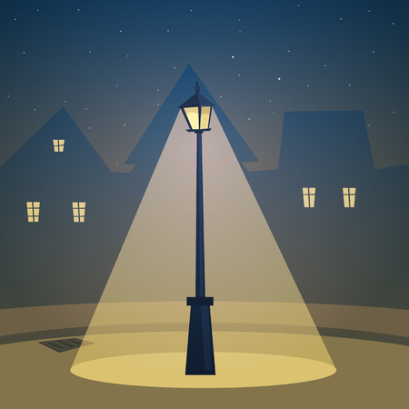 The retro street lamp with city in background. Vector