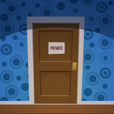 door tags:  Retro cartoon style door with private sign.
