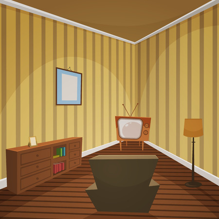 Retro lifestyle room, cartoon design