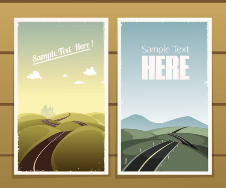 Road retro posters on a wooden surface Illustration