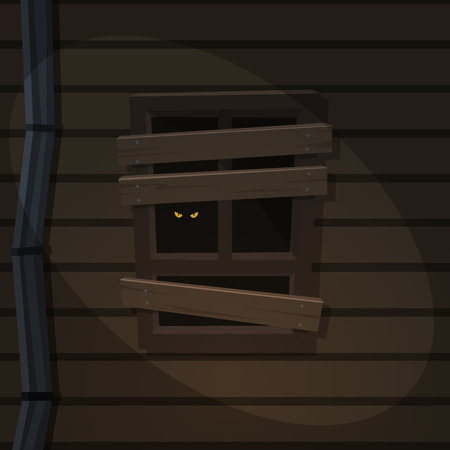 spooky eyes: The abandoned old house with scary eyes on the window. Illustration