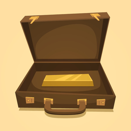 Suitcase with gold bullion isolated