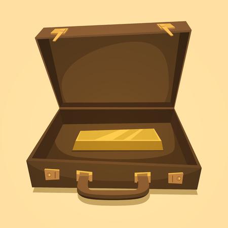 lingot or: Valise avec des lingots d'or isol�