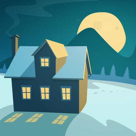 Cartoon illustratie van de winter landschap met huis in de nacht.