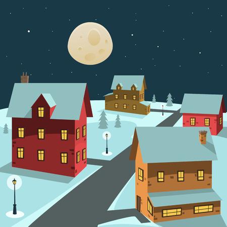 Moonlight lanterns: Cartoon minh họa của làng mùa đông trong đêm.
