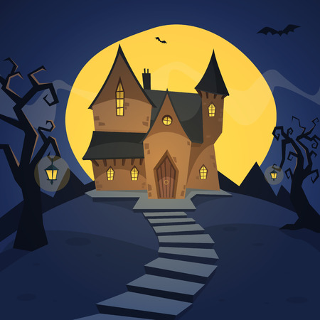 moonlit:  Cartoon illustration of the witch house on hill.