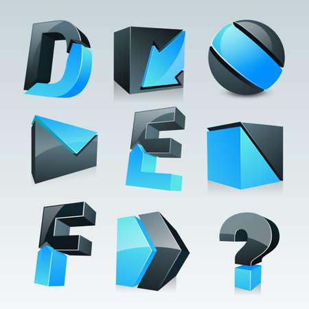 e survey: Set on nine various creative 3D business icons.