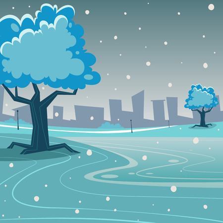 Cartoon illustration of the winter in the park with cityscape in background. Vector