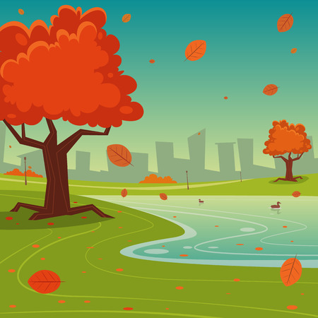 Cartoon illustration of the autumn in the park with cityscape in background. Vector