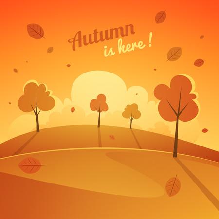 Cartoon seasonal landscape design, vector illustration. Vector
