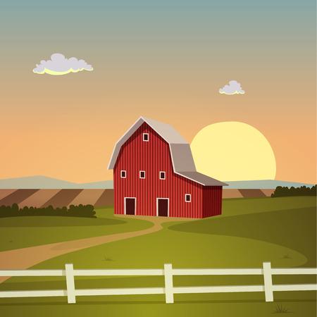 red barn: The farm background, cartoon vector illustration. Illustration