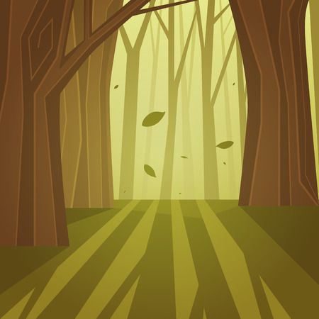 The cartoon illustration of the forest.