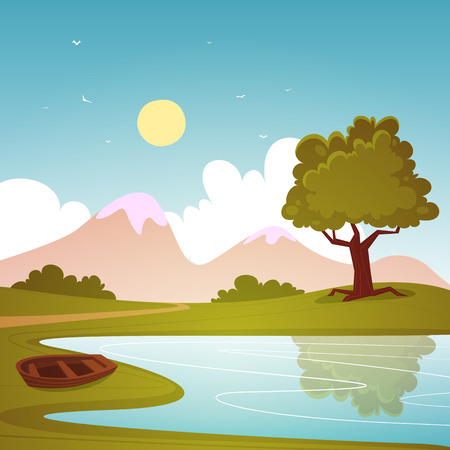 cartoon summer: Lake with boat, cartoon summer landscape, vector illustration.