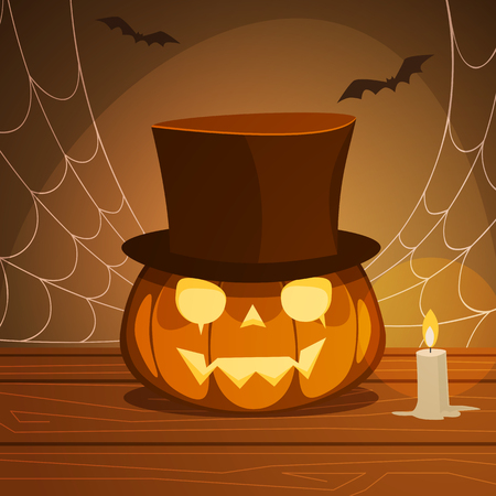 wooden hat: Pumpkin with hat on a wooden desk with candle, Halloween background.