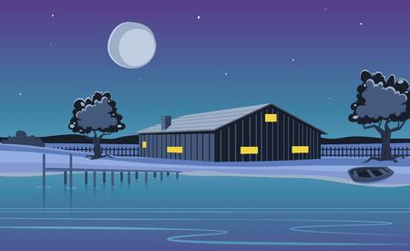 Ilustración de dibujos animados de la cabaña en el lago con muelle ...