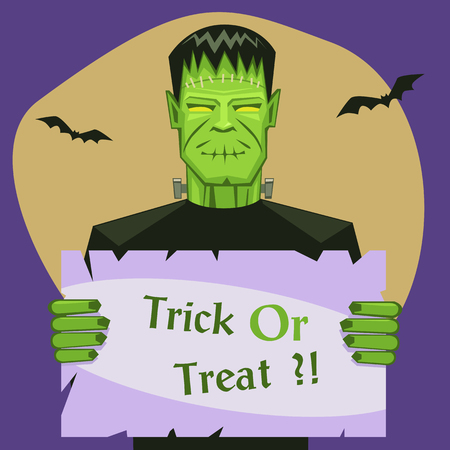 Cartoon illustration of the Frankenstein with banner, Halloween greeting card.