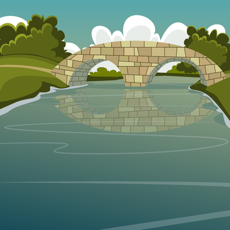bridge construction: Cartoon illustration of the stone bridge over the river.