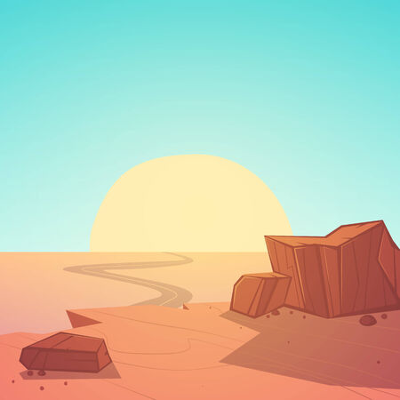 Cartoon illustration of the desert with rocks in the sunset. Vector