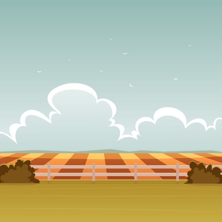 plowed: Cartoon illustration of the summer landscape with fence on a field.