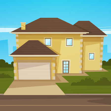 garage on house: Cartoon House