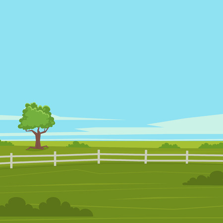 cartoon wind: Summer cartoon landscape with tree and fence, vector illustration.