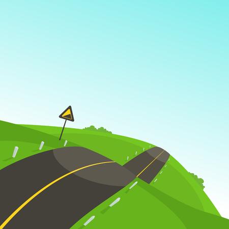 The mountain steep road, cartoon vector illustration.