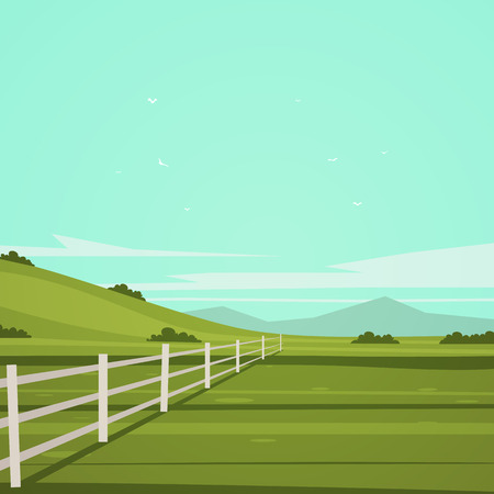 wooden fence: Summer cartoon landscape with white fence on a field, vector illustration. Illustration