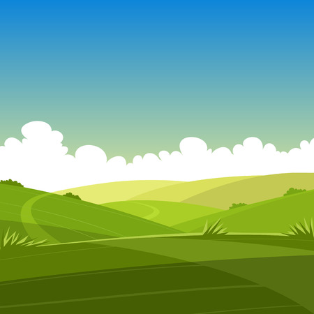 Paisaje de verano de dibujos animados Ilustración de vector
