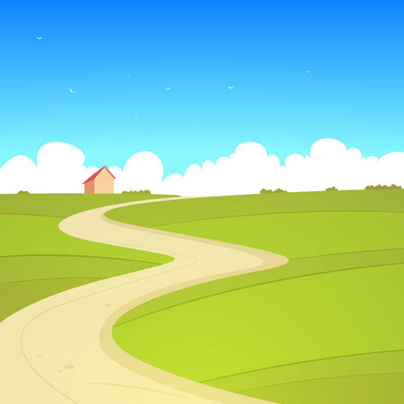 country road: Cartoon Summer Landscape