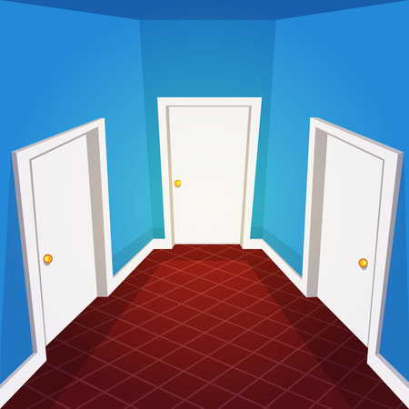 room door: Cartoon illustration of the house hallway. Illustration